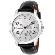 Mark Regal Round Silver Dail Black Leather Strap Analog Watch For Men-MR-DD(03D)