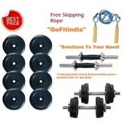 10 Kg Adjustable Fitness Extreme Rubber plates + Dumbells Rods 14 Star Bolts..