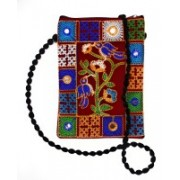 Unique Fashion EMBROIDERED RED MULTI-COLOR RAJASTHANI DESIGN SLING BAG WITH MIRROR WORK FOR GIRLS / WOMEN Red Sling Bag