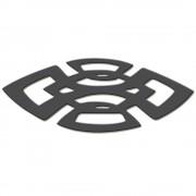 Escultura Decorativa Escudo Abstrato Em MDF Laminado Preto 100 x 45 cm