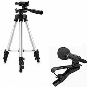 SCORIA 3110 Tripod Stand with 3-Way Head Tripod Cellphone Holder With 3.5mm Clip on Mini Collar Mic Microphone