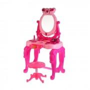 Masuta de make-up Dresser cu oglinda, scaunel si multiple accesorii, efecte sonore si luminoase, Roz, 73 cm