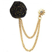 Sullery Wedding Rose Flower Gold Chain Leaf Corsage Lapel Pin Brooch For Men women