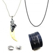 Khanjar Pendant with Chain with Black 28 Inches Black Chain 1 Pair Salman Khan Bali Earring and 1 Cutting Bracelet for Boys
