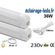 Kit 2 tubes LED T8 36W 120 cm blanc chaud 230v raccord 50cm ref tu18-cb01