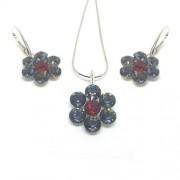 925 ezüst ékszer szett Swarovski® kristállyal - nyaklánc + fülbevaló - nagy virágos Silver Night