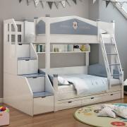 Paturi supraetajate Footbal din lemn masiv si MDF, cu 3 sertare pentru depozitare, scara si dulap depozitare 4 sertare pentru dormitor copii cod 911