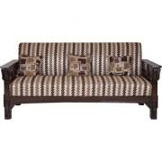 Karigar -3+1+1 Teak wood five seater sofa set with cushions
