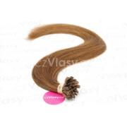 Indické vlasy na metodu keratin odstín 6 Délka: 50 cm, Hmotnost: 0,8 g/pramínek, REMY