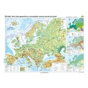 Europa. Harta fizico-geografică şi a principalelor resurse naturale de subsol 160x120 cm