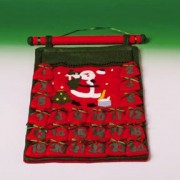 "One Green & Red Felt Hanging Christmas Advent Calendar 17"""