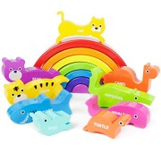 Boley Rainbow Stacking Block Toy Set - Baby Animal Building Shape Plastic Sorter Blocks - Great Educational Learning Toy for Kids, Children, Toddlers