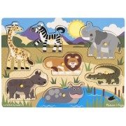 Melissa & Doug Safari Peg Puzzle, Multi Color