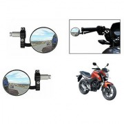 Kunjzone Bike Handle Grip Rear View Mirror BLACK Set Of 2- For Honda CB Hornet 160R