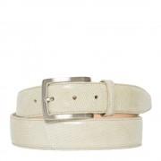 Made In Italy Cintura Uomo in Vera Lucertola colore Beige Chiaro 120cm/3,5cm