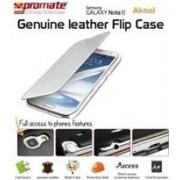 Promate Aknol-Premium Leather Flip Case for Samsung Galaxy Note 2-White Retail Box 1 Year Warranty