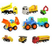 VSHINE Automobile Construction Vehicle Set of 8 Unbreakable Vehicles JCB + Tractor Trolley + Hywa + Mixer + Excavator + Tanker + Poclaine + Dumper