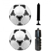 Kit of Tango Black & White Football (Size-5) - Pack of 2 Balls with Air Pump & Sipper