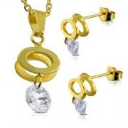 Arany színű nemesacél szett, kör alakú medál és fülbevaló, cirkónia kristállyal