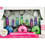 Mini Gourmet Kitchen Tools & Pan Set for Kids Pretend Play