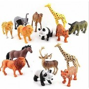 Cartoon Animal Wild Animals Figures Set for Kids Educational Toy Learning Toy - Medium Size (Pack of 12 Wild Animals)