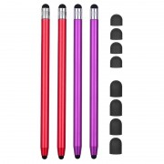 2-in-1 Universal Capacitive Stylus Pen - 4 Pcs. - Red / Purple