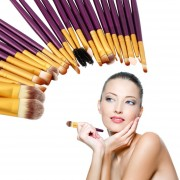 ER Tool Pro 20Pcs Superior Cosmético Del Sistema De Cepillos Del Maquillaje Del Kit Del Cepillo Púrpura Y Oro