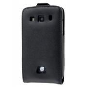 Genuine Leather Flip Case for Samsung Galaxy Xcover S5690 - Samsung Leather Flip Case (Black)