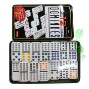Dominoes Game Double Six Color Dot Set 91 Dominoes Tin Box / 91 Domino Tiles Game / Dominoes Premium Set Of 91 Double Six Color Dot Dominoes Set With Metal Tin Case