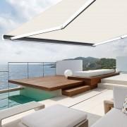 Store banne extérieur coffre intégral motorisé et manuel pour terrasse - Écru - 5 x 3,5 m