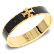 Bransoletka TORY BURCH - Enameled Raised-Logo Hinged Bracelet 41872 Black/Tory Gold 010