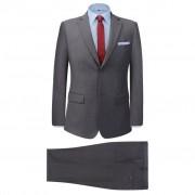 vidaXL Мъжки костюм, 2 части, сив, размер 52