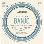 D'Addario Phosphor Bronze 5-String Banjo Set Light 9-20