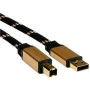 ROLINE Gold USB 2.0, AB, 3m - fekete / arany
