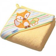 Бебешка хавлия с качулка и гъба за баня TERRY - жълта, BabyOno, 5901435406922
