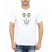 DOUBLE F ROUND NECK HALF SLEEVE WHITE COLOR UNIQUE FACE PATTERN PRINTED T-SHIRTS