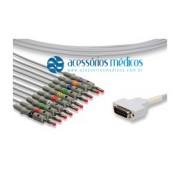 CABO PARA ELETROCARDIÓGRAFO 10 VIAS COMPATÍVEL GE/MARQUETTE® / Registro Anvisa 80787710009 - NQA-EL019