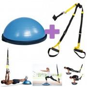 OFERTA PACK PONTE EN FORMA: Bosu Ball Kinefis + Kit Suspensión Kinefis Tipo TRX: Realiza un entrenamiento funcional donde quieras