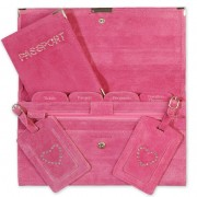 Travel Documents Set - Pink Suede with Bling