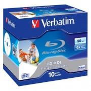 Média Blu-ray BD-R Dual Layer Verbatim jewel case 10, 50GB, 6x, pre tlač