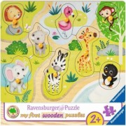 Puzzle Copii 2Ani+ din lemn animale zoo, 8 piese