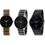 Combo of Round Dial Metal Strap Elegant Analog Wrist Watches