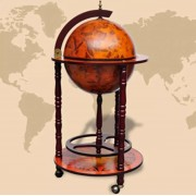 MiaXL Globebar - Wereldbol Bar - Elegant bar voor flessen en glazen - Massief hout - Bar op wielen - Wijnrek