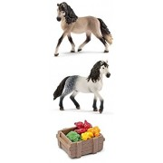 Schleich Durable Realistic 2 Andalusian Horses and Feed Set of 3 Pieces Bagged Together Ready to Give