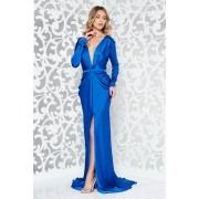 Kék Ana Radu ruha szatén anyagból szirén tipusú övvel ellátva mély dekoltázs