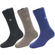 Neska Moda Premium 3 Pair Men Formal Cotton Mid Calf Length Office Socks Black Blue Brown