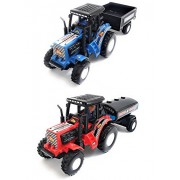 Combo Toys of Tractor with Trolley and Tractor with Tanker | Toy for Kids | Show Piece | Miniature/Model Tractor |Pull Back and Go | Blue and Red Color| Set of 2 Tractors - Value Pack