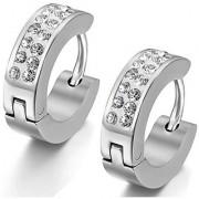 Stainless Steel Stud Hoop huggie Earrings CZ Silver Charm Elegant Men