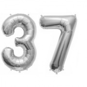 De-Ultimate Solid Silver Color 2 Digit Number (37) 3d Foil Balloon for Birthday Celebration Anniversary Parties