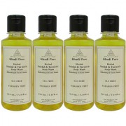 Khadi Pure Herbal Sandal Turmeric Body Wash Paraben Free - 210ml (Set of 4)